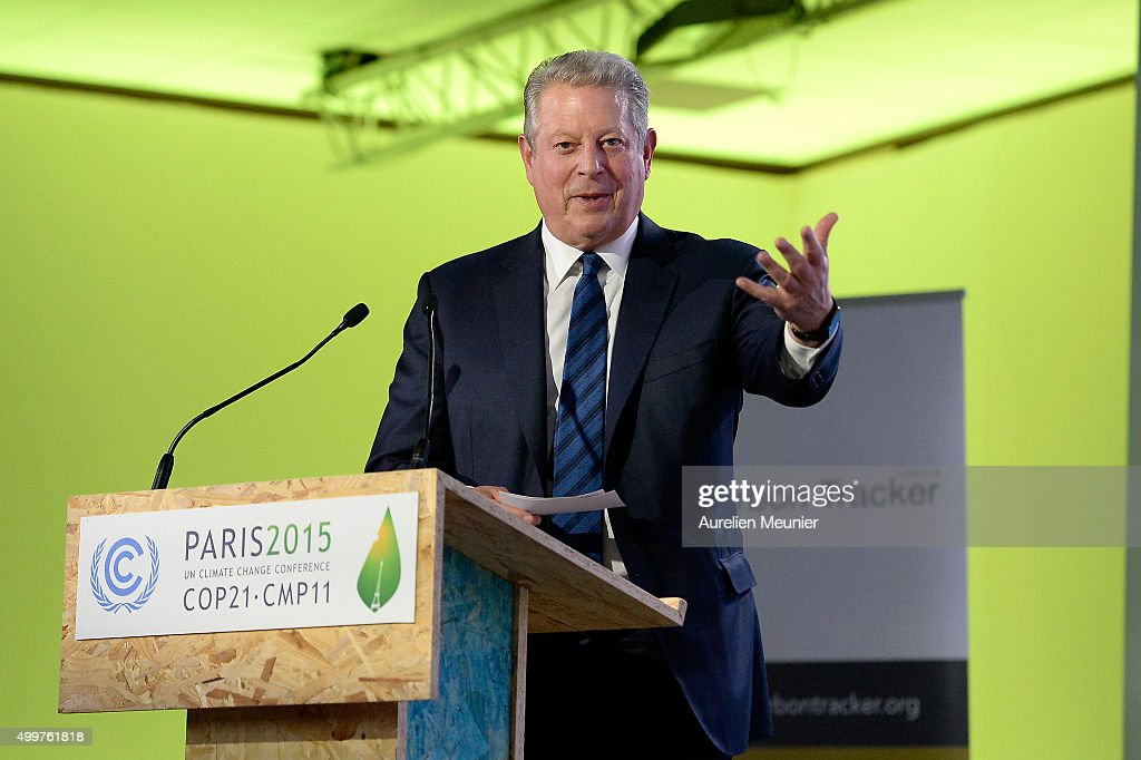 Former United States of America Vice President and Founder of Climate Reality Project, <a gi-track='captionPersonalityLinkClicked' href=/galleries/search?phrase=Al+Gore&family=editorial&specificpeople=119691 ng-click='$event.stopPropagation()'>Al Gore</a> speaks to the press during a COP 21 press conference on December 3, 2015 in Paris, France. Gore spoke about investing for the long term, adressing carbon asset risk.