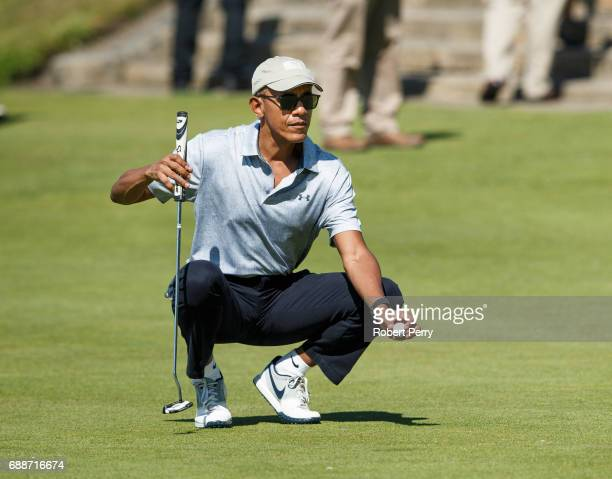 Former United States President Barack Obama plays a round of golf at the Old Course on May 26 2017 in St Andrews Scotland