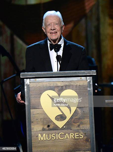 Former United States President Jimmy Carter speaks onstage at the 25th anniversary MusiCares 2015 Person Of The Year Gala honoring Bob Dylan at the...