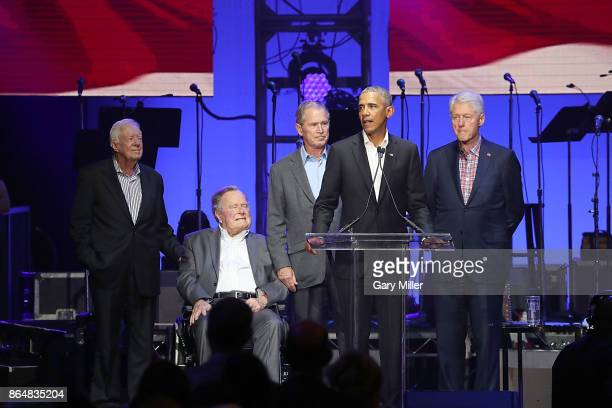 Former United States Presidents Jimmy Carter George HW Bush George W Bush Barack Obama and Bill Clinton address the audience during the 'Deep From...