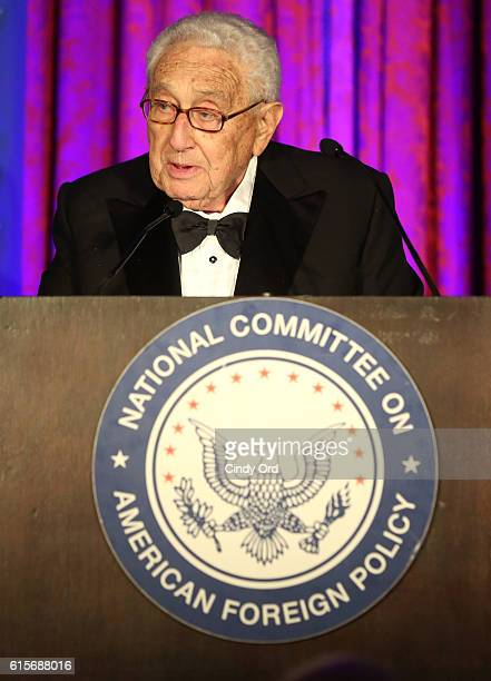 Former United States Secretary of State and honorary NCAFP CoChairman Henry A Kissinger speaks onstage at the National Committee On American Foreign...