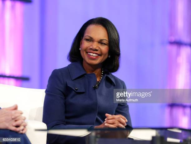 Former United States Secretary of State Condoleezza Rice speaks at the Watermark Conference for Women at San Jose Convention Center on February 1...