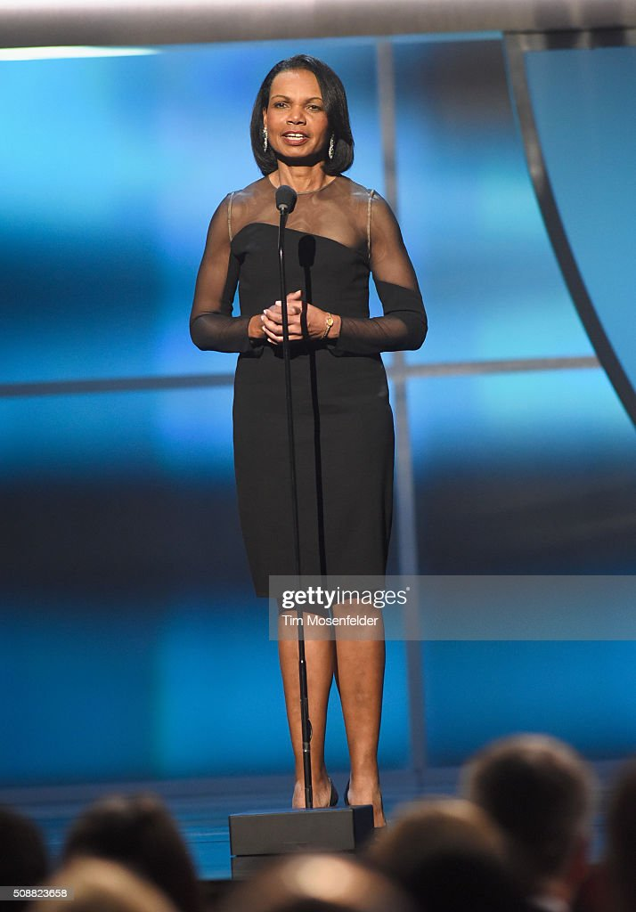 Former United States secretary of state <a gi-track='captionPersonalityLinkClicked' href=/galleries/search?phrase=Condoleezza+Rice&family=editorial&specificpeople=157540 ng-click='$event.stopPropagation()'>Condoleezza Rice</a> speaks onstage during the 5th Annual NFL Honors at Bill Graham Civic Auditorium on February 6, 2016 in San Francisco, California.