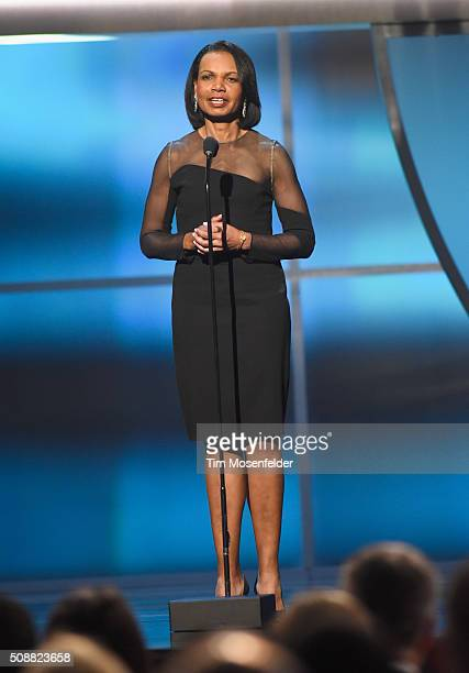 Former United States secretary of state Condoleezza Rice speaks onstage during the 5th Annual NFL Honors at Bill Graham Civic Auditorium on February...