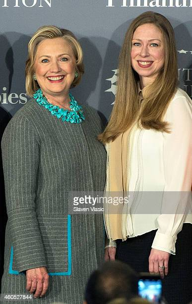 Former United States Secretary of State Hillary Clinton and daughter Chelsea Clinton attend Data2X discussion on the vital role data plays in closing...