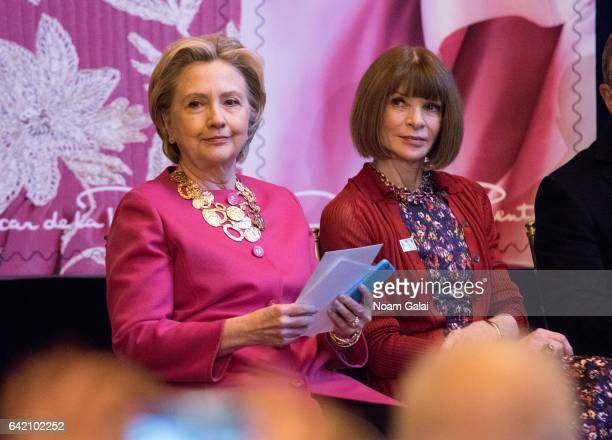 Former United States Secretary of State Hillary Clinton and Editorinchief of Vogue Anna Wintour attend the Oscar de la Renta Forever Stamp dedication...