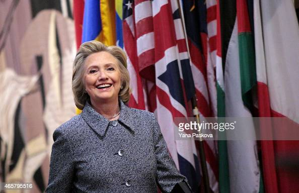 Former United States Secretary of State Hillary Clinton arrives to a press conference after keynoting a Women's Empowerment Event at the United...