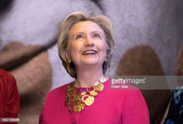 Former United States Secretary of State Hillary Clinton attends the Oscar de la Renta Forever Stamp dedication ceremony at Grand Central Terminal on...