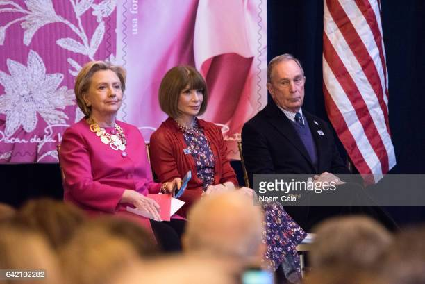 Former United States Secretary of State Hillary Clinton Editorinchief of Vogue Anna Wintour and Michael Bloomberg attend the Oscar de la Renta...
