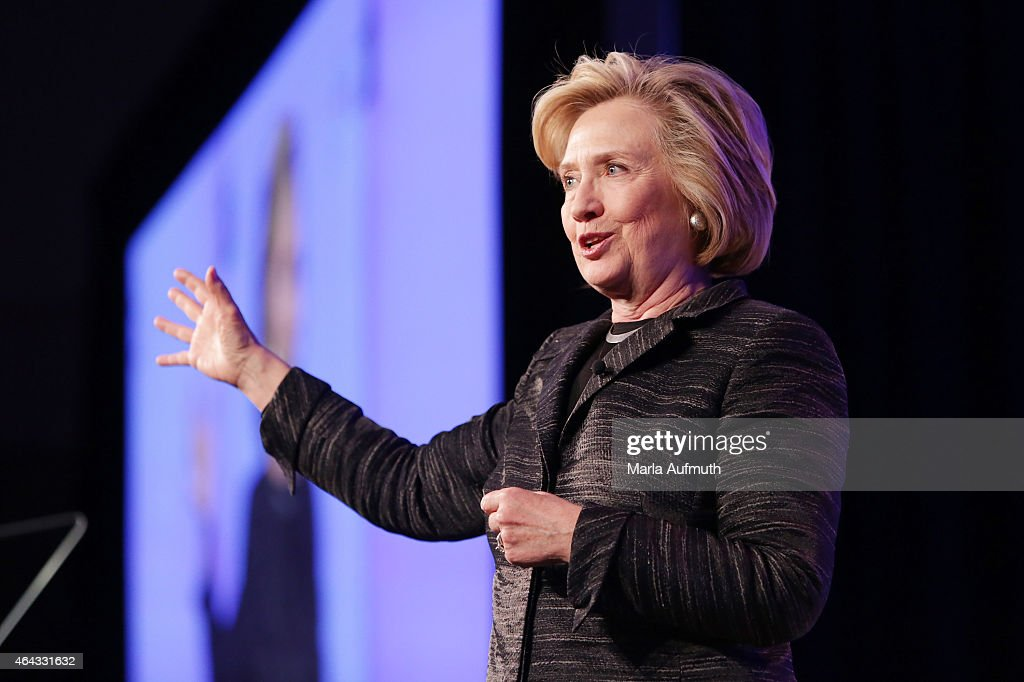 Former United States Secretary of State Hillary Clinton gives the keynote speech during LeadOnWatermark's Silicon Valley Conference For Women at...