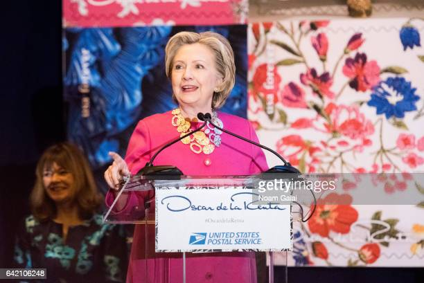 Former United States Secretary of State Hillary Clinton speaks at the Oscar de la Renta Forever Stamp dedication ceremony at Grand Central Terminal...