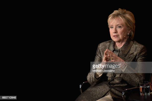 Former United States Secretary of State Hillary Clinton speaks during the Eighth Annual Women In The World Summit at Lincoln Center for the...