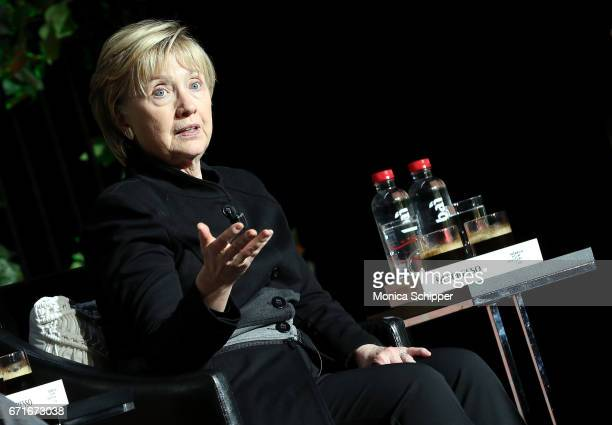 Former United States Secretary of State Hillary Clinton speaks on stage at 'Tribeca Talks Kathryn Bigelow Imraan Ismail' during the 2017 Tribeca Film...