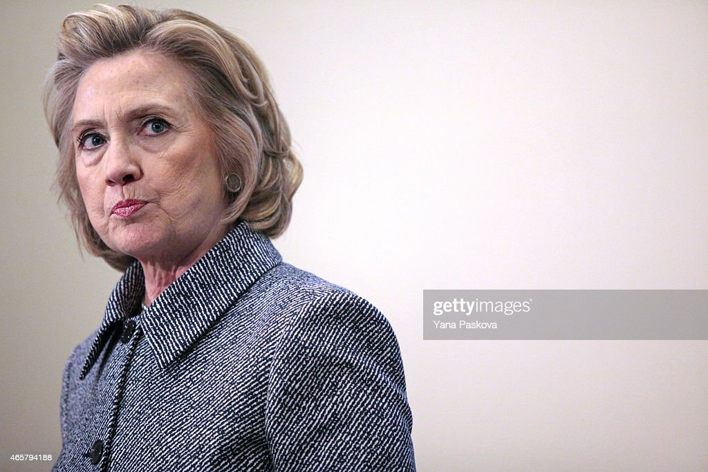 Former United States Secretary of State <a gi-track='captionPersonalityLinkClicked' href=/galleries/search?phrase=Hillary+Clinton&family=editorial&specificpeople=76480 ng-click='$event.stopPropagation()'>Hillary Clinton</a> speaks to the media after keynoting a Women's Empowerment Event at the United Nations on March 10, 2015 in New York City. Clinton answered questions about recent allegations of an improperly used email account during her tenure as Secretary of State.