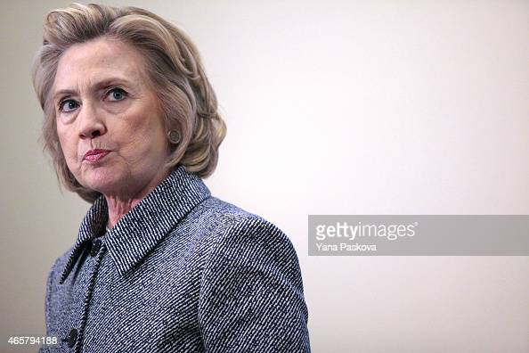 Former United States Secretary of State Hillary Clinton speaks to the media after keynoting a Women's Empowerment Event at the United Nations on...