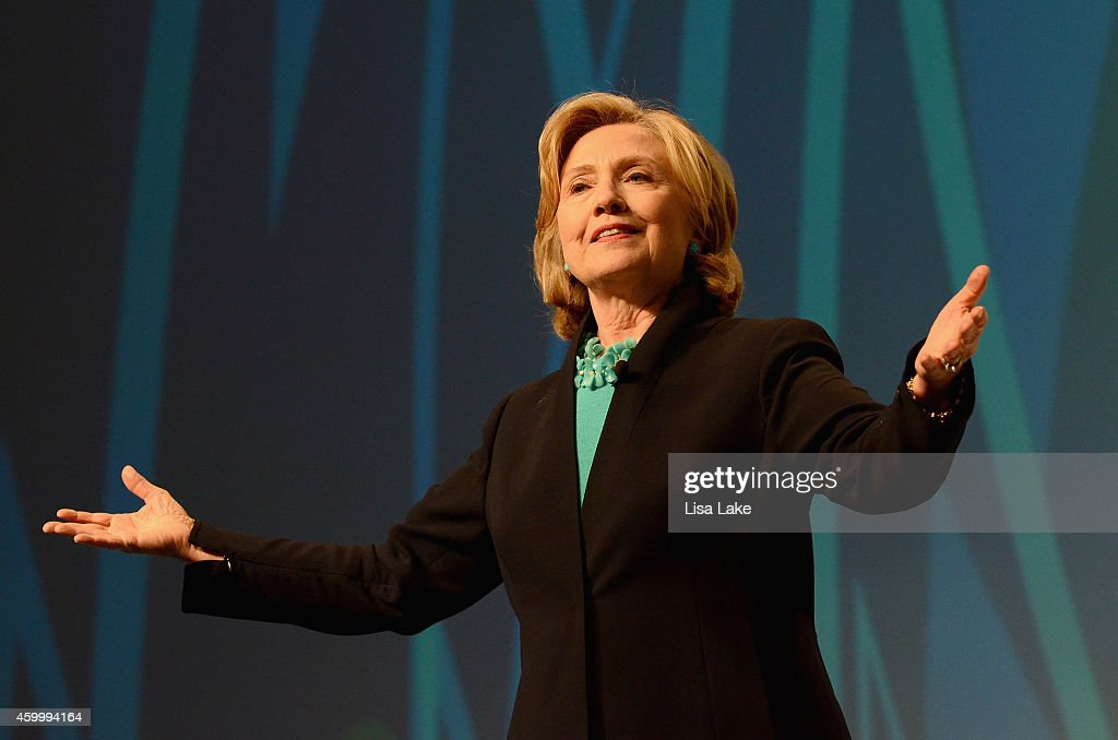 Former United States Secretary of State, Hillary Rodham Clinton speaks on stage at the 2014 Massachusetts Conference for Women at Boston Convention & Exhibition Center on December 4, 2014 in Boston, Massachusetts.