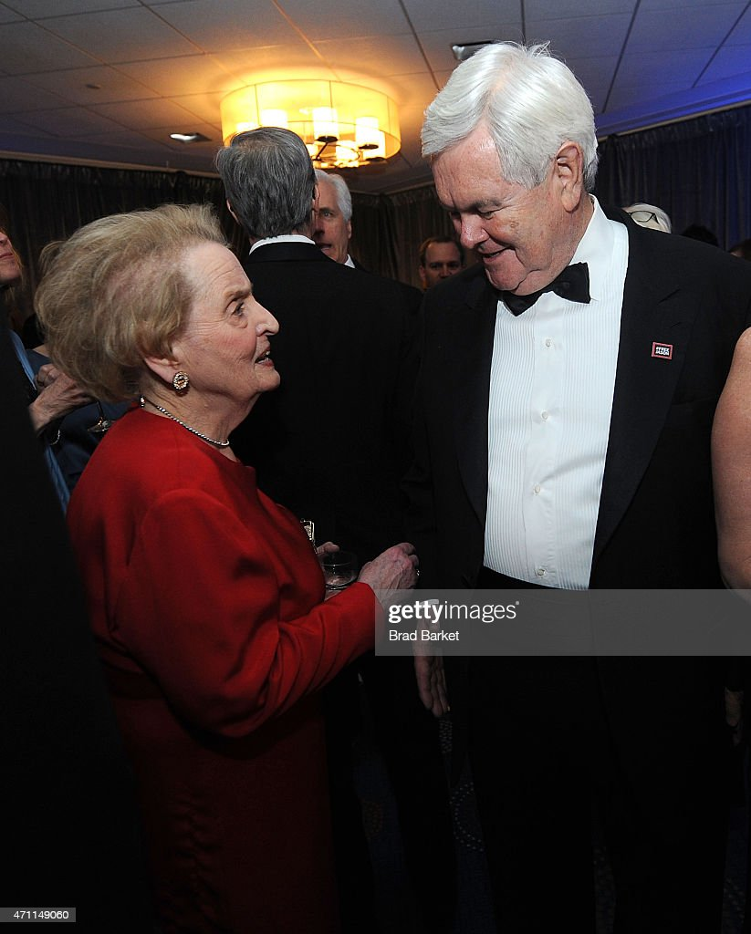 Former United States Secretary of State Madeleine Albright(L) and Newt Gingrich attend The Washington Post White House Correspondents' Pre-Dinner Reception at The Washington Hilton on April 25, 2015 in Washington, DC.