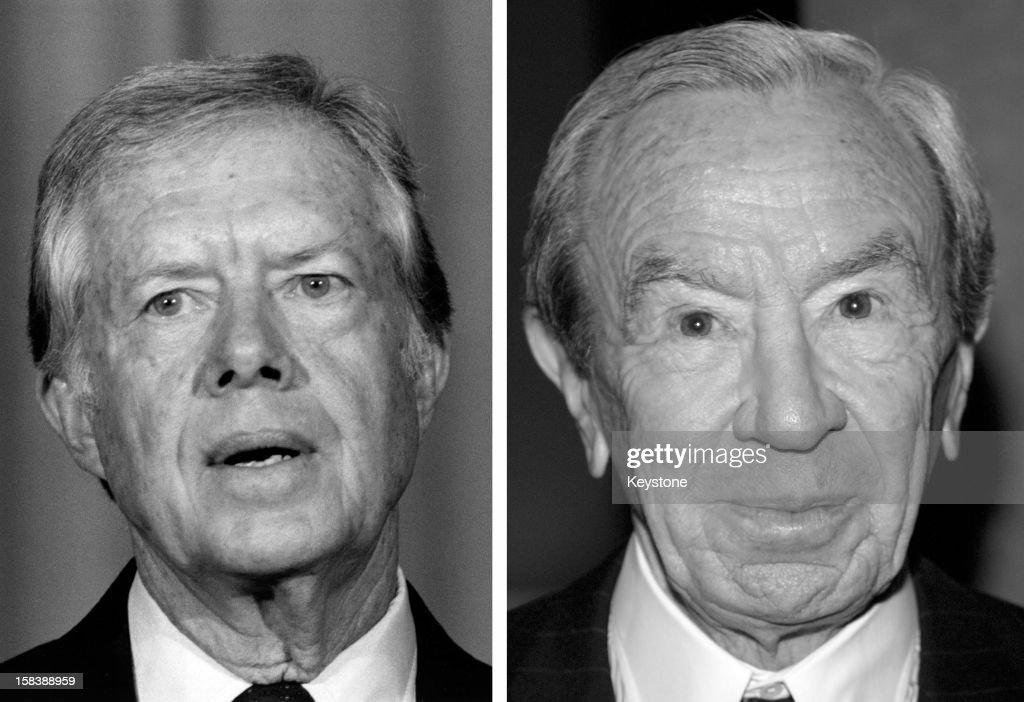 In this composite image a comparison has been made between former US President <a gi-track='captionPersonalityLinkClicked' href=/galleries/search?phrase=Jimmy+Carter+-+US+President&family=editorial&specificpeople=93589 ng-click='$event.stopPropagation()'>Jimmy Carter</a> and his serving Secretary of State <a gi-track='captionPersonalityLinkClicked' href=/galleries/search?phrase=Warren+Christopher&family=editorial&specificpeople=204156 ng-click='$event.stopPropagation()'>Warren Christopher</a>. BEVERLY HILLS - JANUARY 30: (EDITORS