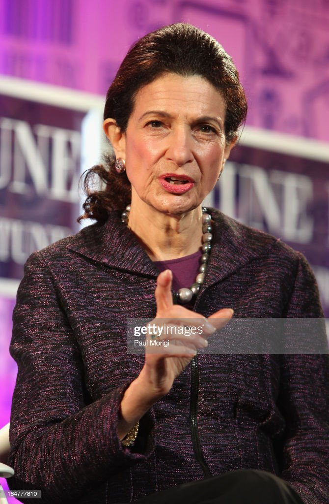 former United States Senator <a gi-track='captionPersonalityLinkClicked' href=/galleries/search?phrase=Olympia+Snowe&family=editorial&specificpeople=220538 ng-click='$event.stopPropagation()'>Olympia Snowe</a> speaks onstage at the FORTUNE Most Powerful Women Summit on October 16, 2013 in Washington, DC.