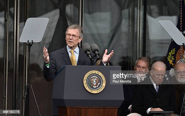 Former United States Senator Tom Daschle speaks at the Dedication Ceremony at the Edward M Kennedy Institute for the United States Senate on March 30...