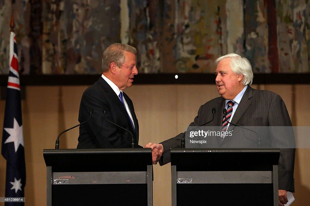 Former United States Vice President Al Gore and Palmer United Party (PUP) Leader <a gi-track='captionPersonalityLinkClicked' href=/galleries/search?phrase=Clive+Palmer&family=editorial&specificpeople=5874044 ng-click='$event.stopPropagation()'>Clive Palmer</a> hold a press conference in the Great Hall at Parliament House in Canberra, Australian Capital Territory. Palmer announced the PUP will support the repeal of the carbon tax but vote against the government's alternative $2.8 billion Direct Action spending program, instead proposing a long-term emissions trading scheme.