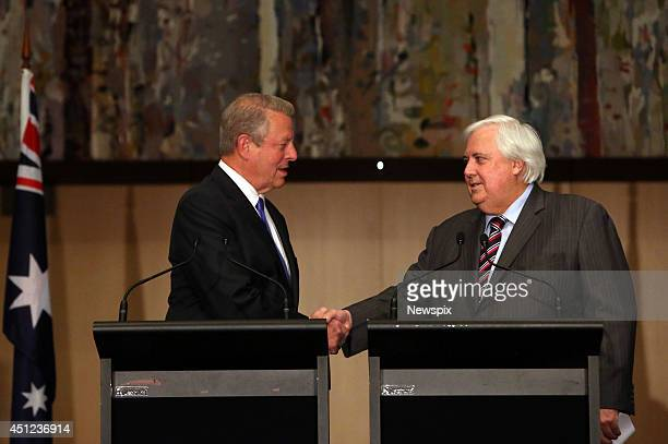 Former United States Vice President Al Gore and Palmer United Party Leader Clive Palmer hold a press conference in the Great Hall at Parliament House...