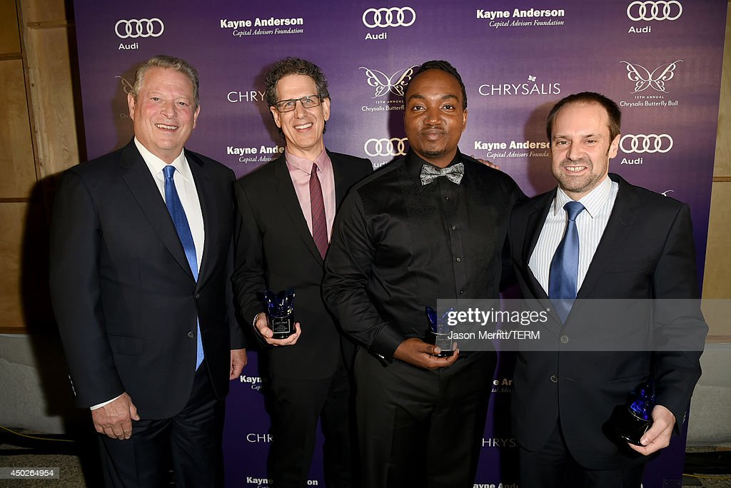 Former United States Vice President Al Gore, Honoree Jim Berk, John Dillon Award Recipient Darius Coffey and Honoree Jeff Skoll inside the 13th Annual Chrysalis Butterfly Ball sponsored by Audi, Kayne Anderson and Stella Artois in Los Angeles, California on June 7th, 2014.