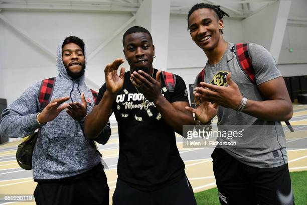 Former University of Colorado players defensive backs Tedric Thompson left and Ahkello Witherspoon right and cornerback Chidobe Awuzie middle also...