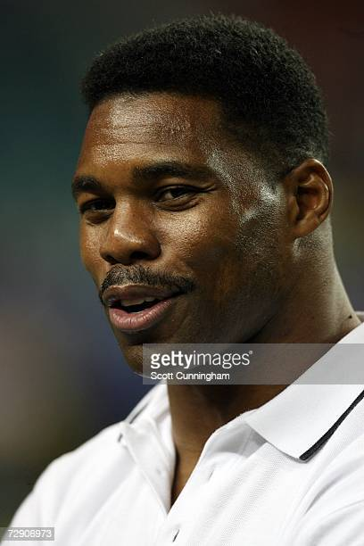 Former University of Georgia Bulldogs running back Herschel Walker gives the invocation before the game between Georgia and the Virginia Tech Hokies...