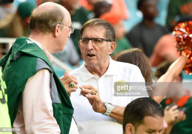 Former University of Miami and NFL quarterback George Mira was honored during an NCAA football game between the Georgia Tech Yellow Jackets and the...