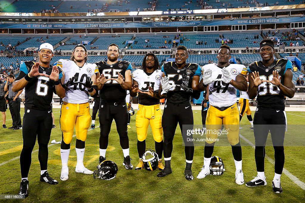 Former University of Miami Players pose for a photo after the game between Pittsburgh Steelers and the Jacksonville Jaguars at EverBank Field on August 14, 2015 in Jacksonville, Florida. From left to right, Jaguars Quarterback <a gi-track='captionPersonalityLinkClicked' href=/galleries/search?phrase=Stephen+Morris+-+American+Football+Player&family=editorial&specificpeople=10098384 ng-click='$event.stopPropagation()'>Stephen Morris</a> #6, Steelers Linebacker <a gi-track='captionPersonalityLinkClicked' href=/galleries/search?phrase=Anthony+Chickillo&family=editorial&specificpeople=8099807 ng-click='$event.stopPropagation()'>Anthony Chickillo</a> #40, Jaguars Guard <a gi-track='captionPersonalityLinkClicked' href=/galleries/search?phrase=Brandon+Linder&family=editorial&specificpeople=7172455 ng-click='$event.stopPropagation()'>Brandon Linder</a> #65, Steelers Linebacker <a gi-track='captionPersonalityLinkClicked' href=/galleries/search?phrase=Sean+Spence&family=editorial&specificpeople=5519228 ng-click='$event.stopPropagation()'>Sean Spence</a> #51, Jaugars Linebacker <a gi-track='captionPersonalityLinkClicked' href=/galleries/search?phrase=Thurston+Armbrister&family=editorial&specificpeople=8571705 ng-click='$event.stopPropagation()'>Thurston Armbrister</a> #57, Steelers Linebacker Shayon Green #49 and Jaguars Wide Receiver <a gi-track='captionPersonalityLinkClicked' href=/galleries/search?phrase=Allen+Hurns&family=editorial&specificpeople=7363092 ng-click='$event.stopPropagation()'>Allen Hurns</a> #88. The Jaguars defeated the Steelers 23 to 21.