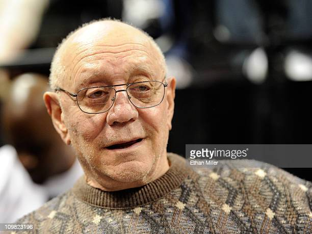 Former UNLV basketball coach Jerry Tarkanian attends a semifinal game of the Zapposcom West Coast Conference Basketball tournament between the...