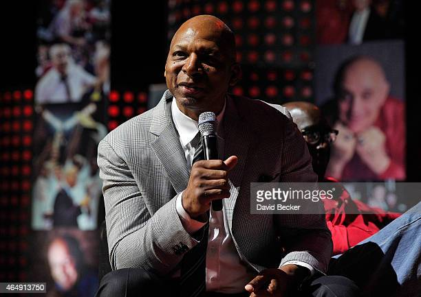 Former UNLV basketball player Jackie Robinson speaks during a tribute to his former coach Jerry Tarkanian at the Thomas Mack Center on March 1 2015...