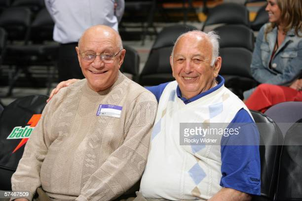 Former UNLV coach Jerry Tarkanian chats with Sacramento Kings assistant coach Pete Carril before the Kings take on the Houston Rockets on April 9...