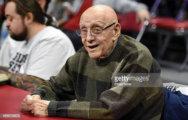 Former UNLV head basketball coach Jerry Tarkanian attends a game between the Morehead State Eagles and the UNLV Rebels at the Thomas Mack Center on...