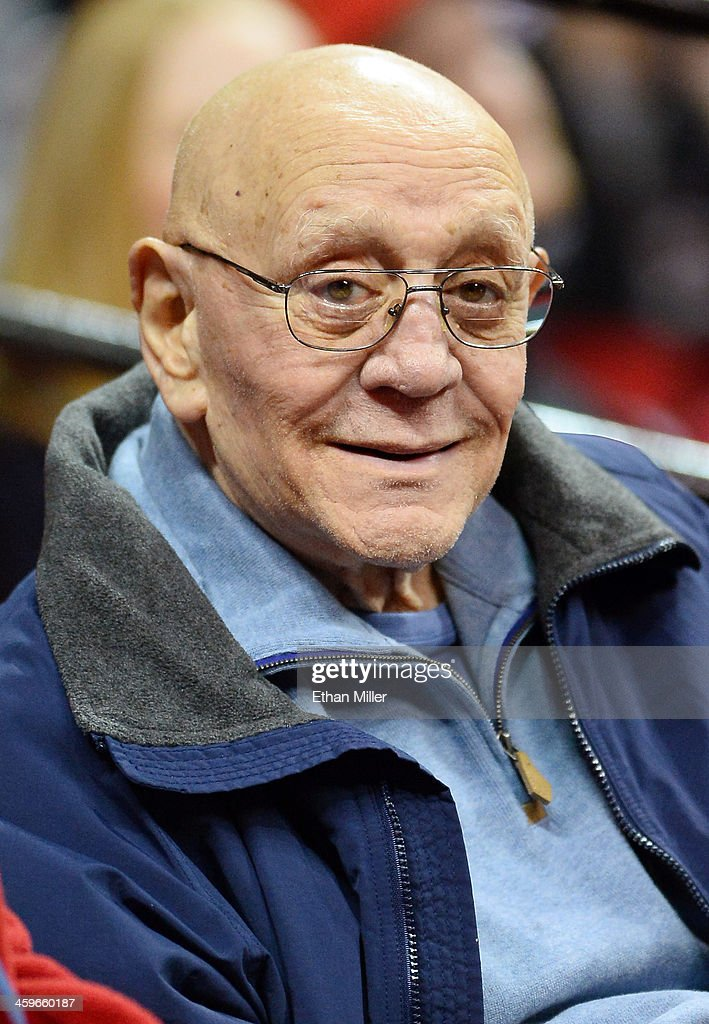 Former UNLV head basketball coach <a gi-track='captionPersonalityLinkClicked' href=/galleries/search?phrase=Jerry+Tarkanian&family=editorial&specificpeople=620659 ng-click='$event.stopPropagation()'>Jerry Tarkanian</a> attends a game between the UNLV Rebels and the California State Fullerton Titans at the Thomas & Mack Center on December 28, 2013 in Las Vegas, Nevada. UNLV won 83-64.