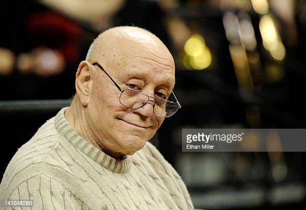 Former UNLV Rebels head basketball coach Jerry Tarkanian attends a semifinal game of the Conoco Mountain West Conference Basketball tournament...