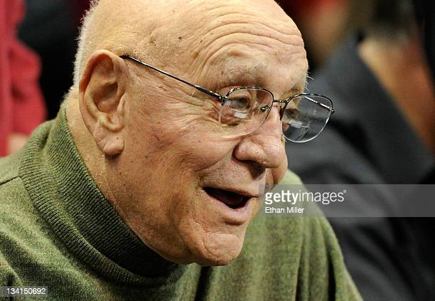 Former UNLV Rebels head basketball coach Jerry Tarkanian attends the championship game of the Continental Tire Las Vegas Invitational between the...