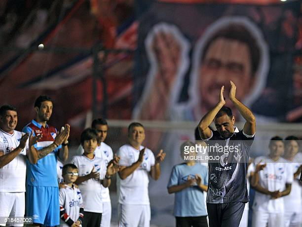 Former Uruguayan football player Alvaro Recoba greets to public during his 'Chino National Legend' farewell match played with footballers friends...