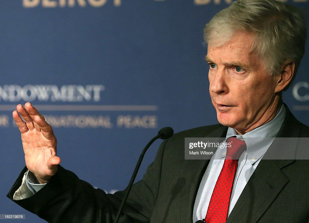 Former U.S. Ambassador to Afghanistan <a gi-track='captionPersonalityLinkClicked' href=/galleries/search?phrase=Ryan+Crocker&family=editorial&specificpeople=2094070 ng-click='$event.stopPropagation()'>Ryan Crocker</a> speaks about Afghanistan at the Carnegie Endowment for International Peace on September 17, 2012 in Washington, DC. Mr. Crocker spoke about the challenges and future opportunities ahead in Afghanistan.