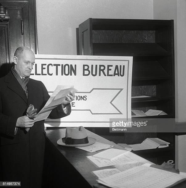 Former US Ambassador to Russia George F Kennan checks over petitions before filing for nomination to congress from the 19th Pennsylvania District...
