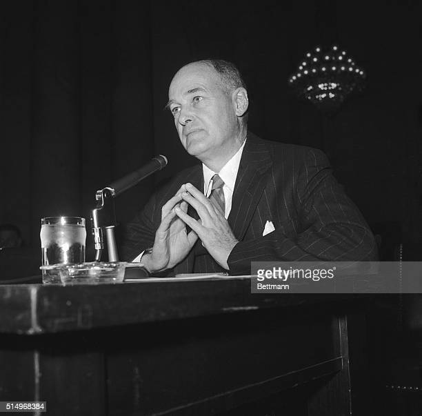 Former US Ambassador to Russia George Kennan is shown testifying before the Senate Disarmament Subcommittee today He told the committee that two...