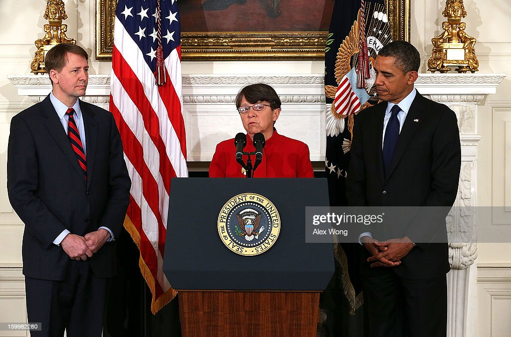 Former U.S. Attorney for the Southern District of New York Mary Jo White (C) speaks as U.S. President <a gi-track='captionPersonalityLinkClicked' href=/galleries/search?phrase=Barack+Obama&family=editorial&specificpeople=203260 ng-click='$event.stopPropagation()'>Barack Obama</a> (R) and Director of the United States Consumer Financial Protection Bureau <a gi-track='captionPersonalityLinkClicked' href=/galleries/search?phrase=Richard+Cordray&family=editorial&specificpeople=7979683 ng-click='$event.stopPropagation()'>Richard Cordray</a> look on during a personnel announcement at the State Dining Room of the White House January 24, 2013 in Washington, DC. President Obama nominated Mary Jo White to become the new Chairwoman of Securities and Exchange Commission. He also re-nominated <a gi-track='captionPersonalityLinkClicked' href=/galleries/search?phrase=Richard+Cordray&family=editorial&specificpeople=7979683 ng-click='$event.stopPropagation()'>Richard Cordray</a> for the same position Cordray has been holding.