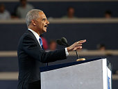 Former US Attorney General Eric Holder delivers remarks on the second day of the 2016 Democratic National Convention at Wells Fargo Center on July 26...