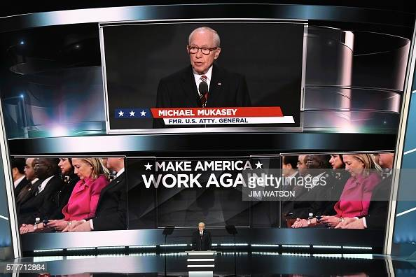 Former us attorney general michael b mukasey speaks during the second