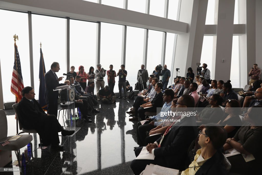 Former U.S. Attorney Preet Bharara addresses new American citizens at a naturalization ceremony in the observatory of One World Trade Center on August 15, 2017 in New York City. Bharara gave the keynote address at the event, where 30 immigrants took the oath of citizenship to become American citizens. Bharara was the U.S. Attorney for the Southern District of New York from 2009-2017 before he was fired by President Donald Trump.