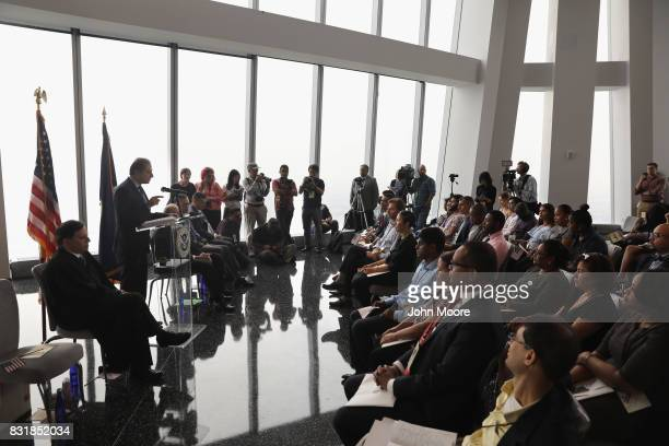 Former US Attorney Preet Bharara addresses new American citizens at a naturalization ceremony in the observatory of One World Trade Center on August...