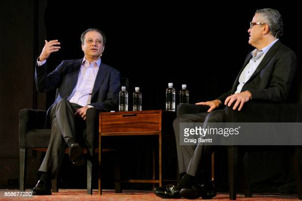 Former US Attorney Preet Bharara and The New Yorker's Jeffrey Toobin speak onstage during Preet Bharara talks with The New Yorkers Jeffrey Toobin at...