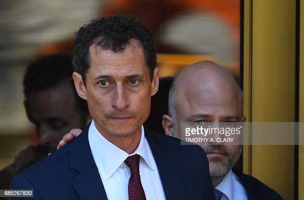 Former US Congressman Anthony Weiner leaves Federal Court in New York on May 19 2017 after pleading guilty to one count of sending obscene messages...