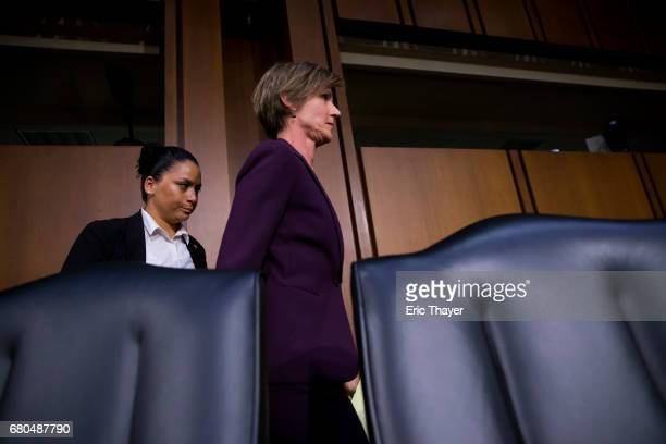 Former US Deputy Attorney General Sally Yates leaves a hearing of the Senate Judicary Committee's Subcommittee on Crime and Terrorism in the Hart...